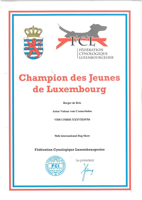 Junior Champion Luxemburg Aston Vulcan vom Cremerladen